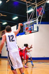 Josh Tuplin shoots from beyond the arc, he finished the night with two 3 pointers, four assists, and nine points.