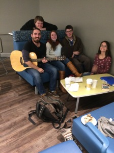 Rod Chandler (leaning over the back), Emily Belanger, Shiloh Chambers, and Kayla Barr joined Aaron in a  repose from their academic studies.