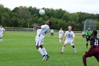 Jonathan Mukwa controls the ball with his chest. Photo by Cassie-Briana Marceau